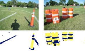 Images from the robot course with semantic segmentation outlines beneath